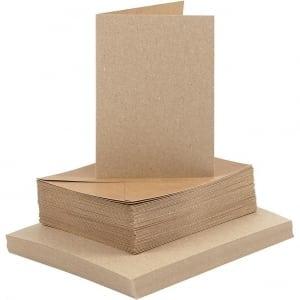 Kaarten en enveloppen 10,5x15 cm naturel, 50 sets