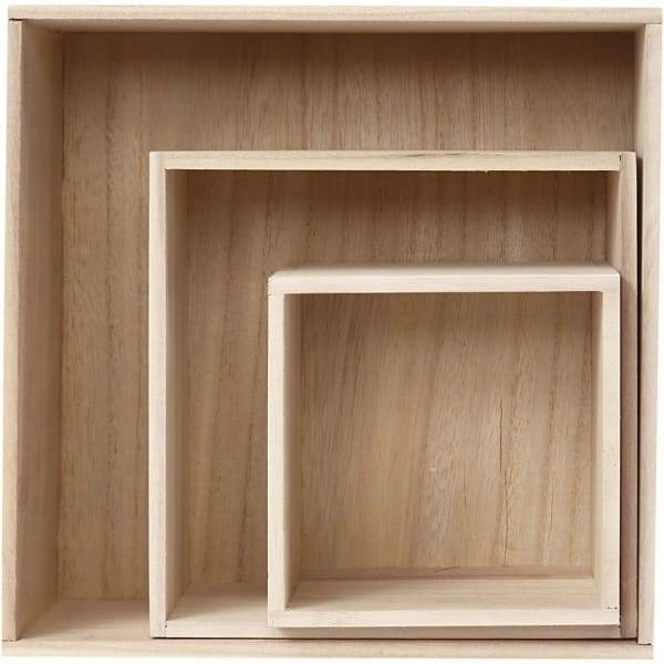 Set 3 Houten voorraaddozen, vierkant, L: 15+21,5+28 cm, B: 15+21,5+28 cm, H: 13+11,5+12,5