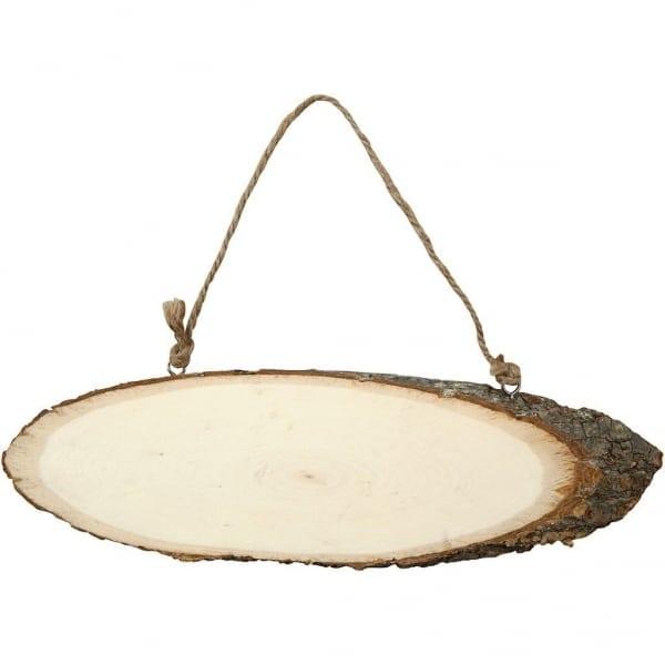 Deurschild hout met schors, b: 23-28 cm, h: 6-10 cm