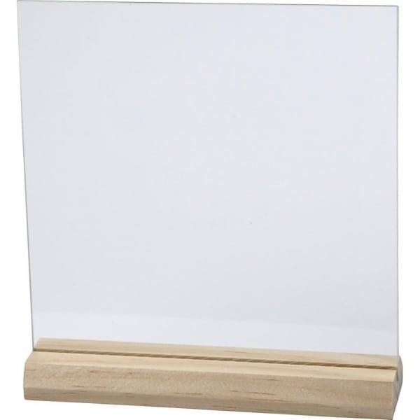 Glazen plaat met houten voet, afm 15,5x15,5 cm, dikte 28 mm
